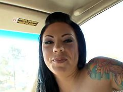 Zesty raven-haired wench sucks fat cock and gets her juicy pussy doggyfucked. Then she rides that dick on top and gets fucked mish until man cums in her mouth.