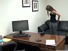 Backroom Casting Couch brings you a hell of a free porn video where you can see how this sexy redhead gets banged amateur style into heaven while assuming hot poses.
