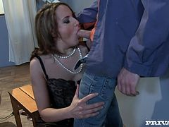 Slutty chick provides buddy with awesome blowjob before getting her dripping wet fish taco hammered mish and doggystyle. Thereafter she rides cock in a cowgirl pose.