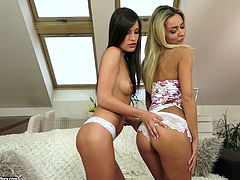 Marvelous blonde enchantress lies on the back spreading her legs and gets her drooling snatch licked by brunette girl. Then brunette babe bends over getting cunnilingus from blondie.