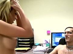The most desirable girl in the office is fucked dirty by nerdy dude