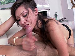 The smoking hot Jayden Lee enjoys playing with a big dick. As soon as she makes it nice and hard this sassy babe spreads her legs and lets it slip into her twat.