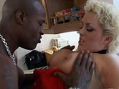 Blonde MILF Rebecca Jane Smythe wears her sexy fishnet stockings as she takes a huge black cock up her yummy little pussy.