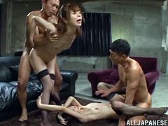 Gorgeous Japanese babes wears sexy stockings as they give these horny dudes with a foot fetish some hot footjobs and end up getting drilled hard.