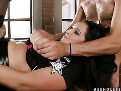 Brunette Juliana Grandi gets her mouth attacked by guys meaty rock hard meat pole