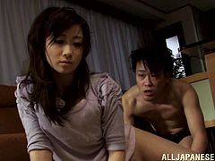 Get a load of this hardcore scene where the horny Yuu Kawakami is fucked by this guy in the living room.