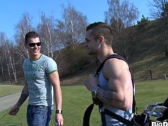 The amazingly ripped gay studs Mark Brown and Franc Zambo are up for some nasty fun in the golf course so they ram each other's yummy asses.
