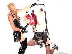Take a look at this BDSM scene where the horny shemale Mistress Alexandra is fucked by a hot mistress wearing a large strapon.