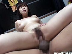Get a hard dick by watching this Asian brunette, with natural boobs wearing cute panties, while she goes hardcore in a wild threesome.