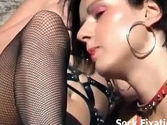 Sock Fixation brings you a hell of a free porn video where you can see how these wild lesbians sluts lick their feet on the beach while assuming some very naughty poses.