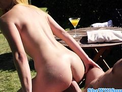 Squirting Mira Sunset outdoor anal