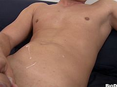 Marvelous hot ass gay in studs plays with a hard dick by licking it before getting his ass feasted doggystyle by a horny dude