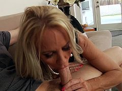 Watch the slutty blonde milf Simone Sonay deep throating this guy's thick cock before being fucked up her ass and facialized.