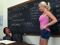 Britney Amber is one hot college student who always gets what she wants. She wants to get excellent grades and she knows that there's no way she is going to get them unless she fucks her teacher. She strips nude, exposing her private parts. Then she goes straight for her teacher's cock. Press play and I'm kinda sure you'll appreciate her cock sucking skills.