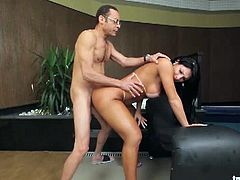 Luna Oliveire is ready for some hardcore action with a big meaty cock. First she blows it like a real pro before begging him to stick it deep into her tight butthole.