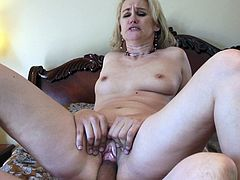Touch yourself by watching this blonde mature lady, with a nice ass wearing a black thong, while she goes hardcore with a lusty fellow.
