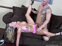 Horny masculined tattooed guy smashes hardcore a tigt pussy of a doll with fake tits in high heels from all direction till the she yells