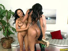 Have fun with this hardcore scene where these two sexy ebony ladies share a guy's thick cock in a threesome that'll have you creaming your pants in no time.