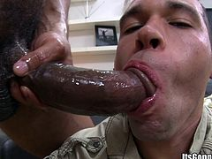 The sexy gay stud Damian James has the time of his life sucking on Castro Supreme's huge cock and ends up getting his tight asshole nailed.