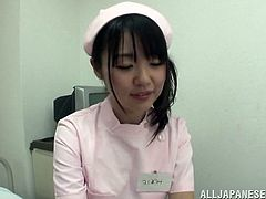 The horny Asian nurse Tsubomi gets a big cumshot after giving her horny patient a yummy anal exam and a hot handjob at the hospital.