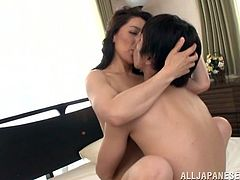 Have fun with this hardcore scene where the sexy Japanese milf Marina Matsumo is fucked by this horny stud as you hear her moan.