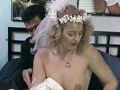 Check out this hot vintage video where this horny blonde bride is fucked by a guy after she sucks on his hard cock.
