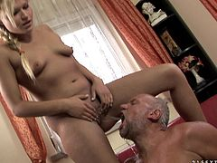Kitty Rich is feeling extremely horny and she can't wait to show this old dude her cock sucking skills. The nasty slut slurps on his dick and surprises him completely.
