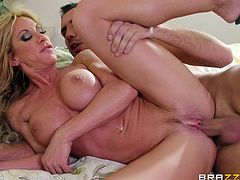 Get a load of this hardcore scene and watch the slutty milf Farrah Dahl end up with a messy facial after being fucked silly.
