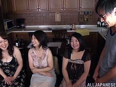 Have a blast watching these amateur Japanese women, with natural love pillows wearing cute dresses, while they get fucked by two dudes.