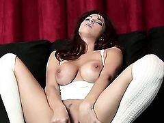 Sabrina Maree with juicy melons and hairless muff makes no secret of her wet hole and breasts