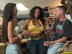 Check out this hardcore scene where these horny ladies please one another in a threesome at a dry cleaners.