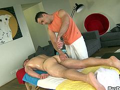 Get a hard dick by watching this queer dude, with a big cock wearing white pants, while he gets assfucked by a fellow after a massage.