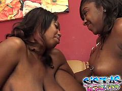 Booty and attractive black whores fuck each other with sex toy