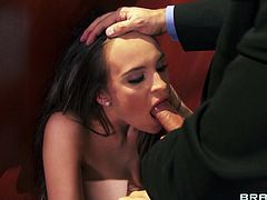 Slutty secretary Teal Conrad is having fun with Keiran Lee in an office. Teal gives a deepthroat blowjob to Keiran, then they fuck in the cowgirl pose on the floor.