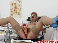 Old practical nurse gets kinky on gyno chair where she opens her legs and spreads her woolly piss hole with gyno specula tool