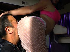 Hottie in Fishnets Gets a Rim Job and Takes a Toy in Her ass