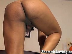 Shemale with exotic beauty undresses herself and started masturbating her shecock. She then joined in by her partner offering his dick for a wild sucking and letting him fuck her in her tight butt.