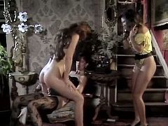 Three vintage lesbians play with toys together