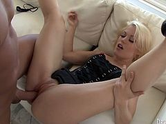 Light haired sex bomb in corset and high heel shoes lies on her back getting her shaved pussy licked and brutally fucked missionary style. Then babe facesits her bald stud.