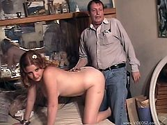 The gorgeous redhead Cherry Poppens shows her perfect boobs before she gets her yummy pussy drilled doggystyle by an older guy.