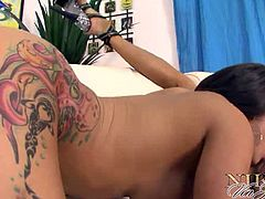 Checkout these three big asses and busty babes in this hot video.Nikita Von James with Joslyn James and Charity Bangs licking and finger fucking each other nicely on the couch.