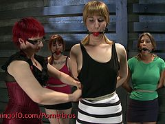 These girls are getting a lesson in bdsm and are tied up, gagged and have their clothes ripped off, or cut off, as they wait for what their masters are going to do to them.