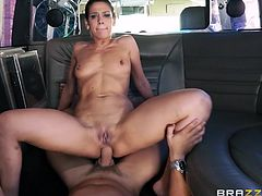 Are you aware of the great potential of bitches with big butts? Samia is a brunette babe with huge sexual appetite who craves for a big cock to fill her lovely ass. The slut and her partner get to business inside a van, where they can enjoy several pleasant positions as riding cock. See Samia banged hard!