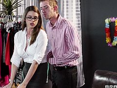 Sexy bitch Brooklyn Chase, wearing stockings and lingerie, is getting naughty with Danny D in a clothes shop. They have awesome oral sex, then bang in the cowgirl and other poses on a chair.