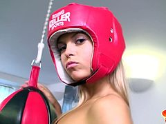 Sabrina combines healthy exercises with more pleasurable activities. If you love this blonde's babe style, don't miss the occasion to watch her spending time at the gym. The only accessory the hot slut is wearing is a red helmet. See naughty Sabrina, rubbing her shaved pussy!