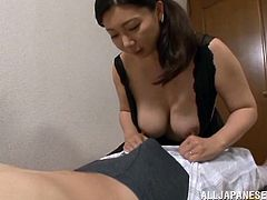 The horny Asian wife Sayuri Mikami gives hes hubby an amazingly sexy blowjob and lets him drill her sweet pussy deep in a yummy doggystyle fuck.
