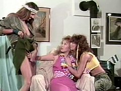 You are going to watch exciting retro video featuring three voluptuous lesbians. They lick each others nipples and dive in each others hairy muffs.