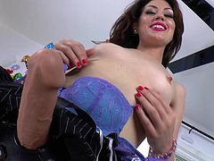Deviant Kade is getting fucked by Sarah Shevon with a strapon. She makes it hot and rough for him until he cums.