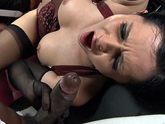 Sizzling brunette Angel Summer, wearing a corset and stockings, is playing dirty games with two clothes masked guys in a jail. She sucks the dude's boners, then gets her pussy drilled doggy style.