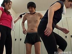 Two kinky Japanese milfs are playing dirty games with a guy in CFNM sex scene. The women rub the dude's wang and show him their big natural tits.
